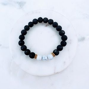 Jewelry - 5 for $25 White and Black Lava Stone Bracelet